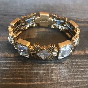 J Crew Gold Clear Stone Stretch Bracelet